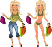 Pretty nude blond shopping glamur girl Royalty Free Stock Image