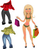 Pretty nude blond shopping glamur girl with clothe. Color Royalty Free Stock Photography