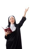 Pretty nun with Bible isolated on the white Stock Image