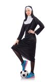 Pretty nun with football ball isolated on the Stock Photography