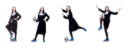 The pretty nun with football ball isolated on white. Pretty nun with football ball isolated on white Royalty Free Stock Photo
