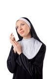 Pretty nun isolated on the white Royalty Free Stock Images