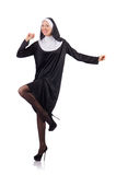 Pretty nun isolated on white Royalty Free Stock Image