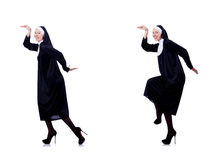 The pretty nun isolated on white Stock Images