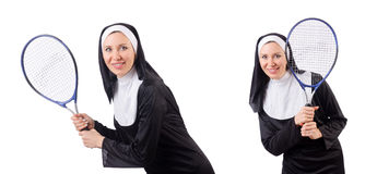 The pretty nun isolated on white Royalty Free Stock Photo