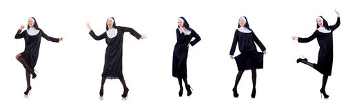 The pretty nun isolated on white Stock Photography
