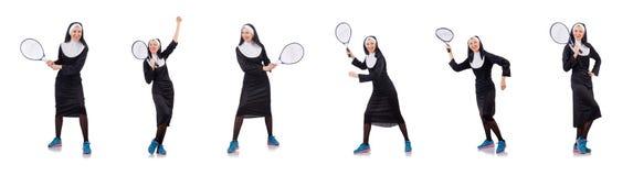 The pretty nun isolated on white Stock Photos