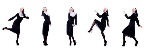 The pretty nun isolated on white Stock Image