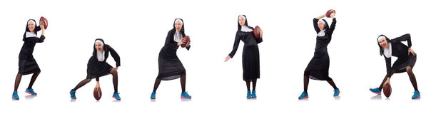 The pretty nun with rugby ball isolated on white Stock Images