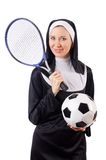 Pretty nun with sport equipment isolated on the Royalty Free Stock Image