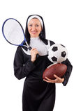 Pretty nun with sport equipment isolated on white Royalty Free Stock Photography
