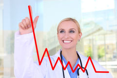 Pretty Nurse Drawing Graph Royalty Free Stock Photos