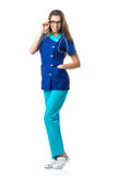 Pretty nurse with glasses   Stock Images
