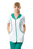 Pretty  Nurse in white-green  work clothing Royalty Free Stock Photo
