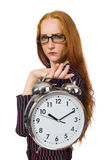 Pretty office employee with alarm clock isolated Royalty Free Stock Photos