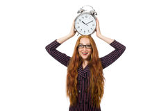 Pretty office employee with alarm clock isolated Royalty Free Stock Image