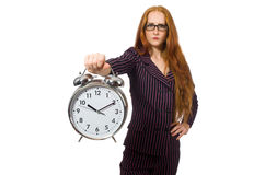 Pretty office employee with alarm clock isolated Stock Photos