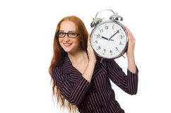 Pretty office employee with alarm clock isolated Stock Image