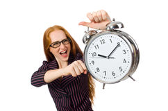 The pretty office employee with alarm clock Stock Photos