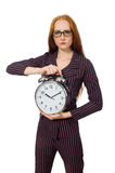 The pretty office employee with alarm clock Stock Image