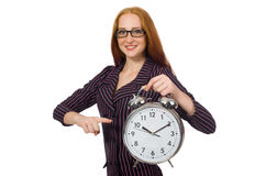 Pretty office employee with alarm clock isolated on white Royalty Free Stock Photos