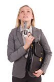 Pretty office employee with briefcase and handgun Stock Images