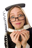The pretty office employee holding phone isolated Stock Photography
