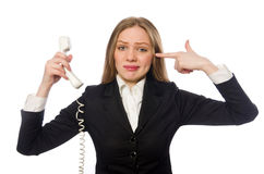 Pretty office employee holding phone isolated on stock images
