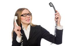 Pretty office employee holding phone isolated on Royalty Free Stock Photos