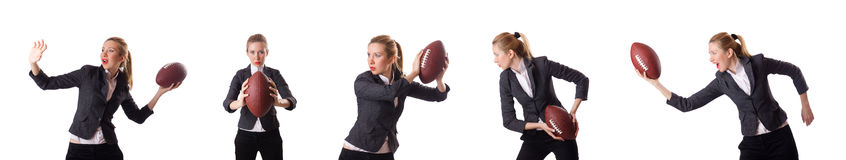 The pretty office employee with rugby ball isolated on white Stock Photos