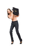 The pretty office manager holding briefcase isolated on white Royalty Free Stock Images