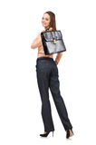 The pretty office manager holding briefcase isolated on white Stock Images