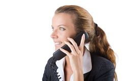 Pretty office manager speaking on  phone isolated Stock Image