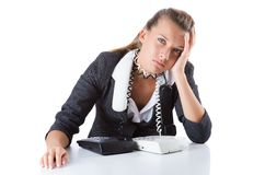 Pretty office manager speaking on  phone isolated Royalty Free Stock Photography