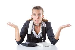 Pretty office manager speaking on  phone isolated Stock Photo