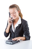 Pretty office manager speaking on the phone Stock Images