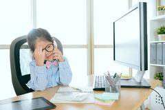 Pretty office worker girl using mobile cell phone. Pretty attractive office worker girl using mobile cell phone calling with client discussing case feeling Royalty Free Stock Photos