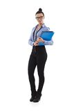 Pretty office worker holding folders Stock Photo