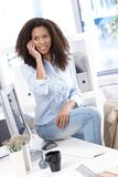 Pretty office worker on mobile phone smiling Royalty Free Stock Photo