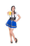 Pretty oktoberfest girl holding beer tankard Royalty Free Stock Images