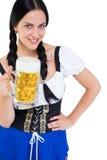 Pretty oktoberfest girl holding beer tankard Stock Photos