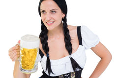 Pretty oktoberfest girl holding beer tankard Royalty Free Stock Photography