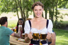 Pretty oktoberfest girl smiling at camera Royalty Free Stock Photography