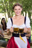 Pretty oktoberfest girl smiling at camera Stock Images