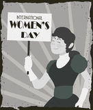 Pretty Old Fashioned Woman with banner Marching in Women's Day, Vector Illustration Royalty Free Stock Photography