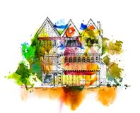 Pretty old house, Sketch with colourful water colour effects Stock Photography
