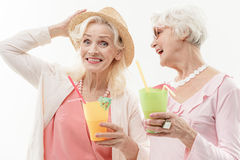 Pretty old ladies enjoying vacation Royalty Free Stock Photography