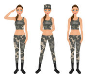Pretty oman soldier in camouflage leggings and crop top. Saluted Army girl.  Stock Image