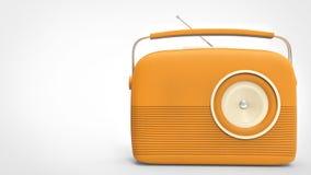 Pretty orange retro vintage radio. Isolated on white background royalty free illustration