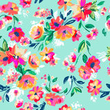 Pretty painted flowers ~ seamless background Stock Image